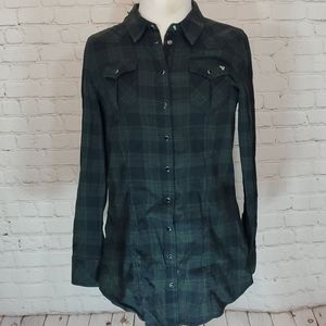 Guess, blue and green plaid tunic
